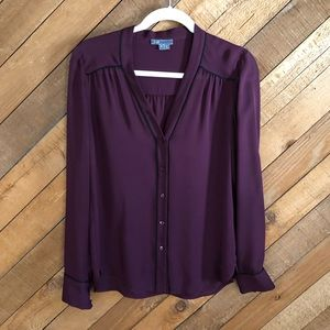 Vince 100% silk sheer burgundy blouse size Small
